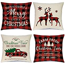 Christmas Farmhouse Home Decor Ueerdand Christmas Pillow Covers 18×18 Inch Set of 4 Black and Red Farmhouse Buffalo Plaid Pillow Covers Rustic Linen… farmhouse christmas pillow covers