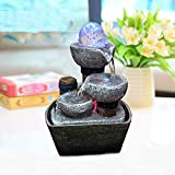 Indoor Fountain Water Feature with Magic Crystal Ball and LED Lights for The Garden Feng Shui Indoor Water Feature Ornaments Home Garden Decor (b 14x10x21cm)