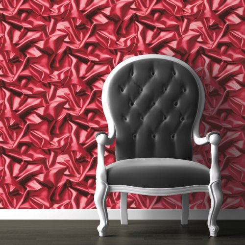 Pink-Red - F72910- 3D Gathered Silk Effect - Crushed Velvet - Muriva Wallpaper