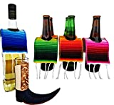 Yani's Gifts 6 Beer Poncho Mini Serapes and One Leather Mexican Pointy Boots Cowboy Boot Shot Glass (1-Pack, Assorted) for Cinco de Mayo, Day of the Dead or a Mexican Party, Beer Covers for a 6 Pack