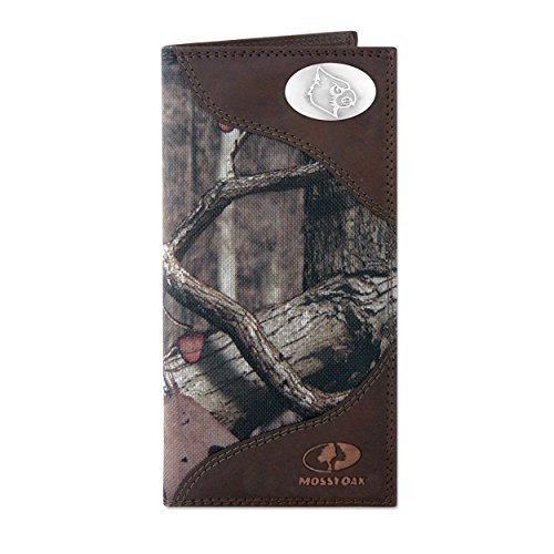 NCAA Louisville Cardinals Zep-Pro Mossy Oak Nylon and Leather Secretary-Style Roper Concho Wallet, Camouflage, One Size - Louisville Cardinals Brown Football