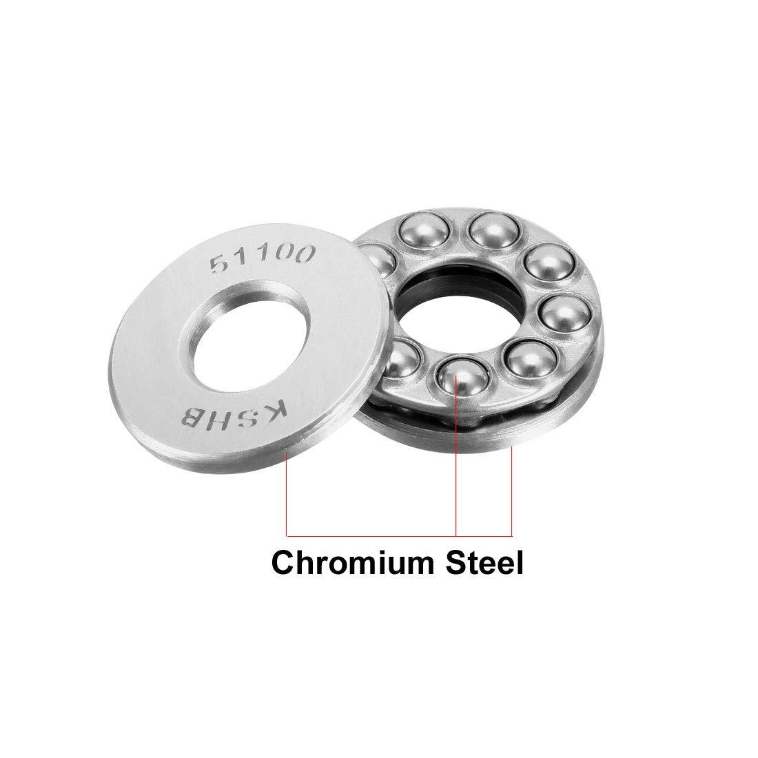 Uxcell 51100 Single Direction Thrust Kugel Bearings 10Mm X 24Mm X 9Mm Chrome Steel Pack von 5