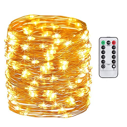 Daily-Necessities Battery Operated String Lights 33ft 100 LED Waterproof Dimmable Copper Wire with Remote Control,Suitable for Outdoor, Bedroom, Parties, Garden,Wedding (Warm White) (0, White Warm)