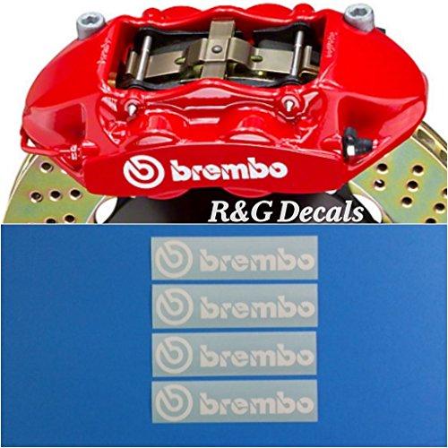 - R&G Brembo 4 PISTON HIGH TEMP Brake Caliper Decals Sticker Set of 4 (White)