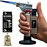 fimicc Culinary Butane Torch Refillable Cooking Torch with Two Type of Flames,Safety Lock&Adjustable Flame-For Creme Brulee,Desserts,Camping&More-BONUS Cotton Bag,Recipe E-book&Video (Beige Nickel)