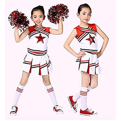 Girls Cheerleader Uniform Outfit Costume Fun Varsity Brand Youth Red White Matching Pom poms: Clothing