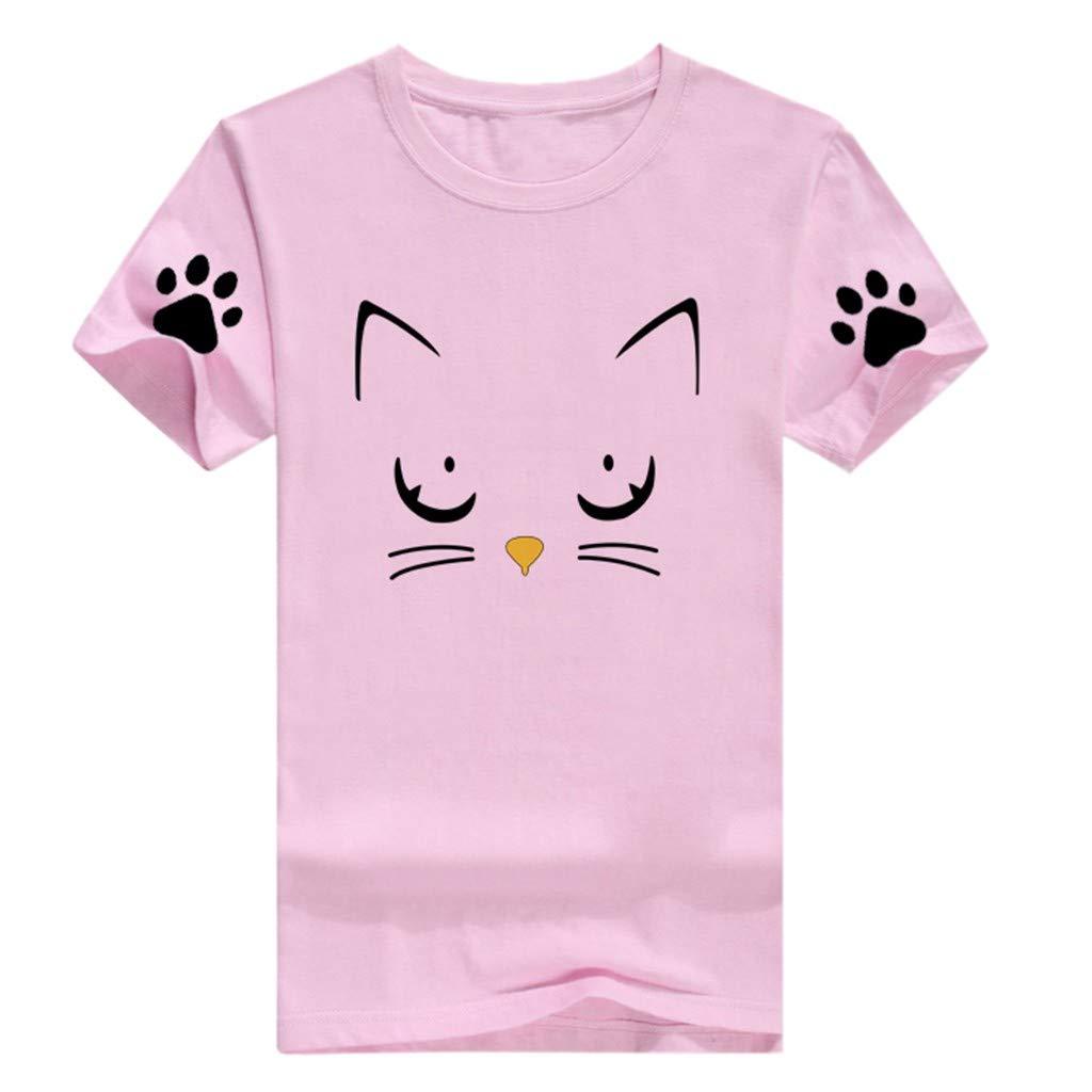 Womens Summer Short Sleeve Casual O-Neck Cute Cat Print Tops Tee Shirts Blouse