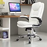 YAMASORO Ergonomic Executive Office Chair - Adjustable Tilt Angle and Flip-up Arms High-Back PU Leather Computer Chair Big for Man and Women White