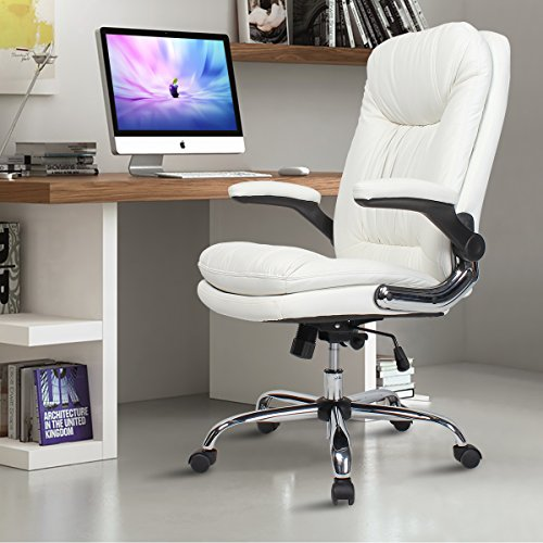 (YAMASORO Ergonomic Executive Office Chair White,High Back Leather Computer Chair Flip up Arm Rests,Office Desk Chairs with Wheels for Heavy People)