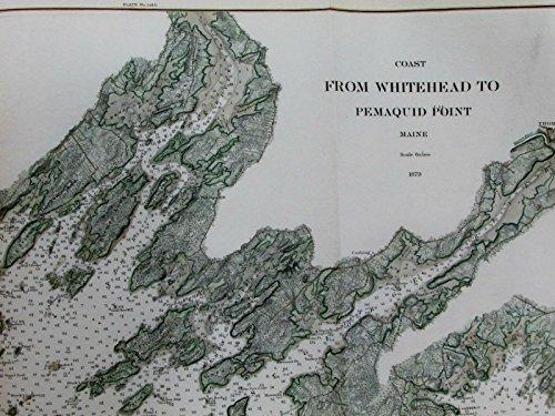 (Whitehead Pemaquid Point Thomaston Maine coast 1879 USCGS old nautical chart map)