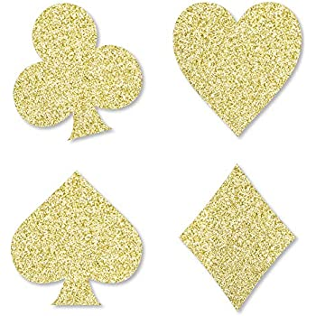 935ca027ef5e Gold Glitter Card Suits - No-Mess Real Gold Glitter Cut-Outs - Las Vegas  and Casino Party Confetti - Set of 24