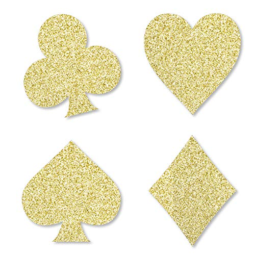 Gold Glitter Card Suits - No-Mess Real Gold Glitter Cut-Outs - Las Vegas and Casino Party Confetti - Set of 24]()