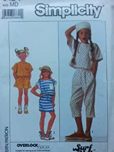 GIRLS KNIT TOP, PANTS, SHORTS AND SKIRT SIZE 8-10 SIMPLICITY SURF CLUB PATTERN 9124
