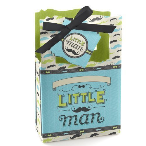 Dashing Little Man Mustache - Baby Shower or Birthday Party Favor Boxes - Set of 12 Man Party Favor Box