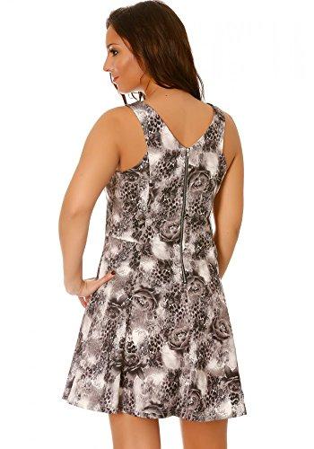 dmarkevous - Robe courte patineuse grise sans manches motif léopard et roses - M-L, gris