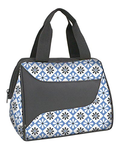 Fit & Fresh Women's Downtown Insulated Lunch Bag with Zipper Closure and Exterior Pocket, Stylish Adult Lunch Box for Work, Blue Patchwork Flower
