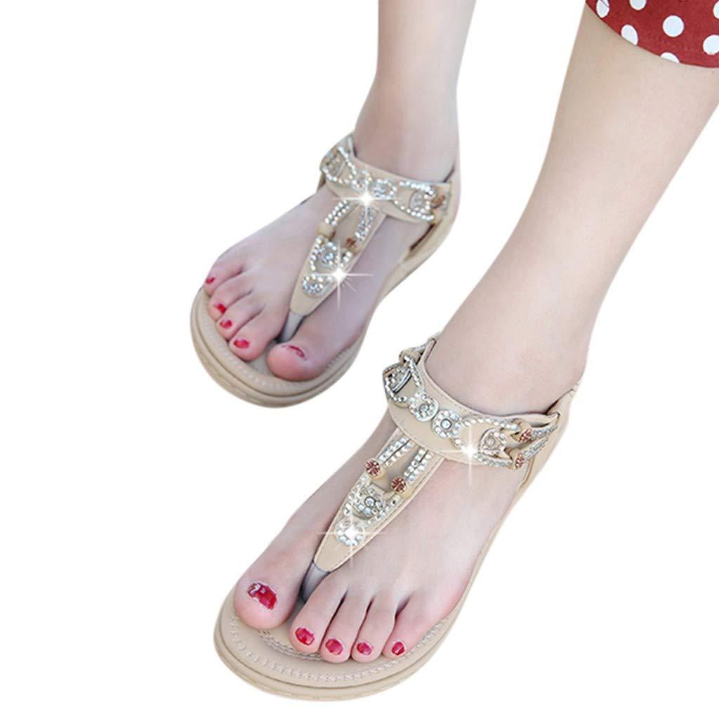 Photno Womens Bohemia Flat Sandals Summer Rhinestone Flip-Flops Thong Sandals
