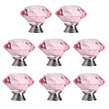 Mellewell 8 PCS Crystal Glass Cabinet Knob 30mm Diamond Shape Drawer Cabinet Pulls, Pink, 1501F-8