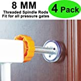 Baby Gate Threaded Spindle Rod 8MM,Replacement Hardware Parts Kit for Pet & Dog Safety Pressure Mounted Gates - Extra Long Wall Mounting Accessories Screws Rod Adapter Bolts(4 Pack)