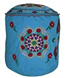 Lalhaveli Flower Design Embroidery Cotton Blue Round Ottoman Cover 18 X 18 X 18 Inches