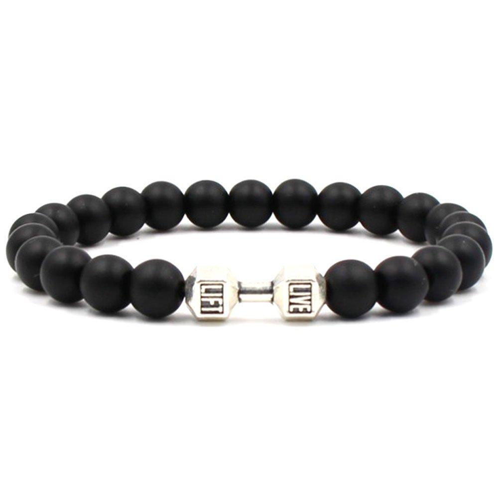 Bracciale braccialetto chakra regalo uomo pietra vulcanica nera LIVE LIFT