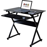 OneSpace Ultramodern Glass Computer Desk, with Pull-Out Keyboard Tray, Black