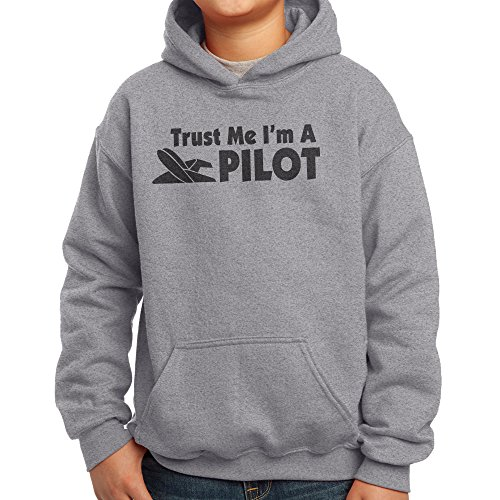 Nutees Trust Me I'm A Pilot, Plane Funny Unisex Kids Hoodie - Sports Grey 9/11 Years