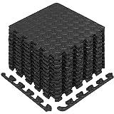 Yes4All Interlocking Exercise Foam Mats with Border – Interlocking Floor Mats for Gym Equipment – Eva Interlocking Floor Tiles (12 Square Feet, Black)