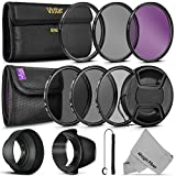 52MM Vivitar UV CPL FLD Filters, Altura Photo ND Filter Set, Collapsible Rubber Lens Hood, Tulip Lens Hood Bundle for Lenses with a 52mm Filter Size