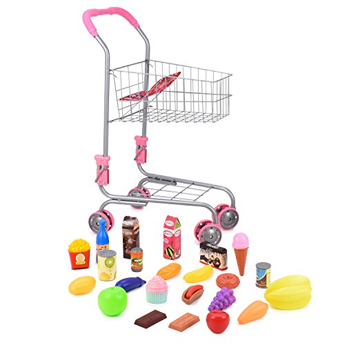 Abco Tech Pretend Play Children's Toy Shopping Cart - Ideal Grocery Cart Trolley for Toddlers]()