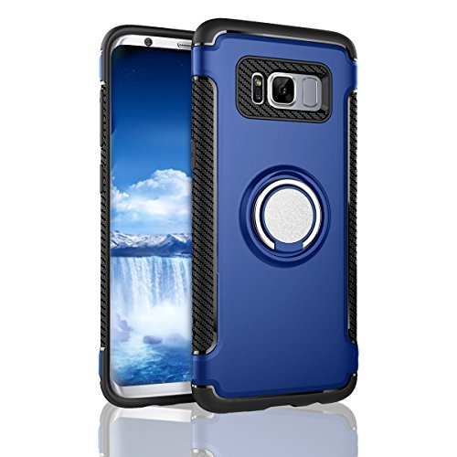 S8 Case,Galaxy S8 Case,BESTARLEDS Hybrid Ring Holder Kickstand 360 Degree Rotating Ring Grip Cover Shock-Absorption & Anti-Scratch Bumper Protective Case for Samsung Galaxy S8 (5.8 inch)Blue