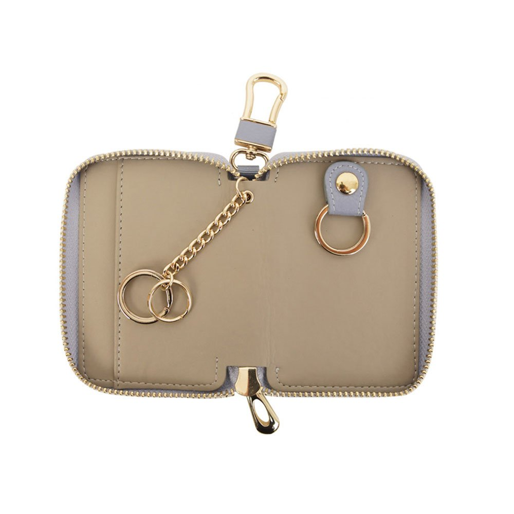 Amazon.com: Genuine Leather Car Smart Key Holder Bag Keychain Wallet ...