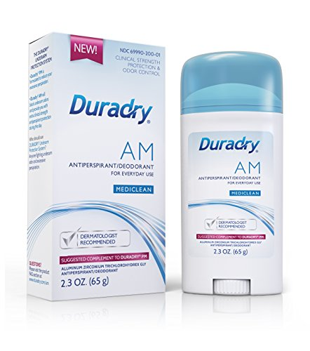 Duradry AM 2.3 OZ. 65g Mediclean Solid Stick Clinical Strength Deodorant Antiperspirant. Perfect Complement to Duradry PM. Block Sweat and Odor. Made in USA