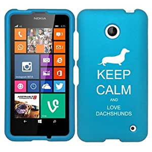 Nokia Lumia 630 635 Snap On 2 Piece Rubber Hard Case Cover Keep Calm and Love Dachshunds (Light Blue)