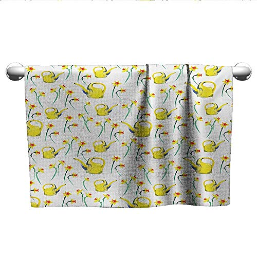 alisoso Daffodil,Hand Towel Daffodils and Watering Cans Pattern Watercolor Style Print Gardening Theme Absorbent Towel Yellow and White W 20