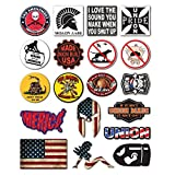 19-Pack Union Hard Hat, Tool Chest, Lunch Box Stickers | 100% Vinyl | Proudly MADE IN USA! Funny decals Construction, Electrician, Oilfield, Military, Fire Crew, Mechanic | Display your American Flag!