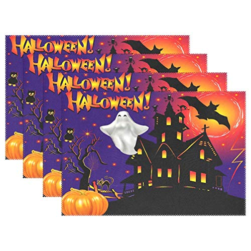 Halloween Pumpkin Ghost Placemats Table Mats Placemat Set of 4, Autumn Fall Castle Bat Moon Non Slip Washable Place Mats 12x18 inch Heat Resistant Kitchen Tablemats for Dining Room Dinner -