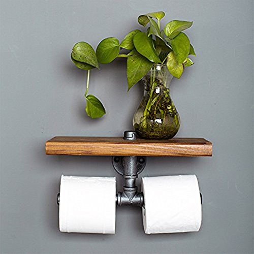 Industrial Toilet Paper Holder with Wooden Shelf or Stainless steel,Toilet Tissue Roll Holder,Rustic Style Water Pipe Wall Mounted,Fashion Display Shelves With Instructions (Paper Towel Holders 02) by Non-Branded (Image #1)