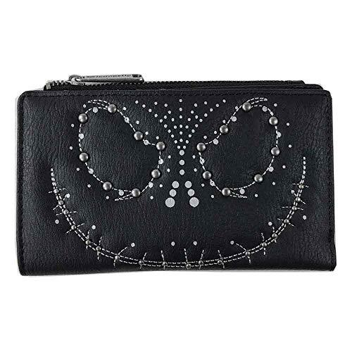 Loungefly x Nightmare Before Christmas Jack Skellington Studded Top Zip Bi-Fold Wallet (Black, One -
