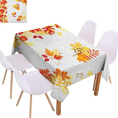 Rectangular Tablecloth Fall Autumn Themed Pattern Chestnut