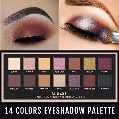 SuBoZhuLiuJ 14 Colors Shimmer Glitter Eyeshadow Pearlescent Eyeshadow Palette Glitter Pigment Matte Eyes Art for Party Festival Makeup - As Picture Show