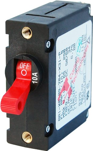 Blue Sea Systems A-Series Red Toggle Single Pole 10A Circuit Breaker