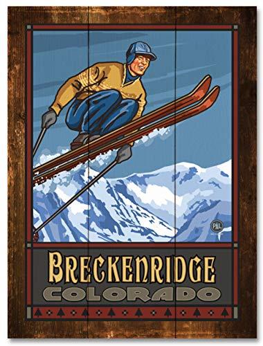 Breckenridge Colorado Ski Jumper Rustic Wood Art Print by Paul A. Lanquist (18