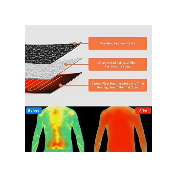 51BMr3IezML * La chaqueta térmica tiene 8 placas térmicas inteligentes, 3 calentadores de hombros + 3 calentadores de cintura + 2 calentadores abdominales. La temperatura de cada zona se puede controlar de forma independiente. La placa calefactora está hecha de material de fibra nanocompuesto, que tiene una alta tasa de conversión de energía térmica, buena tenacidad y una larga vida útil. * La chaqueta calefactora tiene tres modos de calefacción: alto , medio , bajo . El puerto USB de doble cara es compatible con la mayoría de los bancos de energía. POR FAVOR UTILICE la salida de 5V / 2.4A o POR ENCIMA del banco de energía, la batería de BAJO POTENCIA puede no iniciar el sistema de calefacción. (NOTA: Banco de energía no incluido) * La chaqueta térmica está diseñada con un tejido de poliéster compacto y una cremallera impermeable. Después del tratamiento hidrofóbico, el agua no es fácil de adherir, lo que puede evitar lluvias ligeras y nieve. El interior es una tela de malla de diamante, que puede mejorar la resistencia al desgarro de la capa interior y es más duradera.