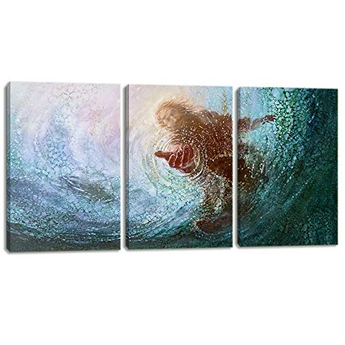 - KALAWA Hand of Jesus Under Water Teal Blue Print on Canvas 3 Panel Christian Home Decor for Bedroom Living Room Sea Pictures Wooden Framed Ready to Hang(20