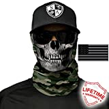 SA Company Face Shields for Men Women by Great for Fishing, Motorcycle Riding Protection Face Shield Mask Neck Gaiters for Cold Hot Weather (Green Military Camo Skull)