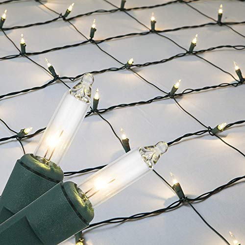 Clear Net Lights Christmas Clear Net Christmas Lights Outdoor Net, Outdoor Warm Christmas Lights / Outdoor Decorative Lights Christmas Net Lights on Green Wire (4