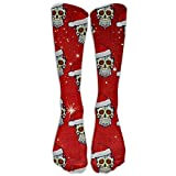 Christmas Santa Sugar Skull Unisex Crew Cotton Athletic Sock Running Socks Tube Socks