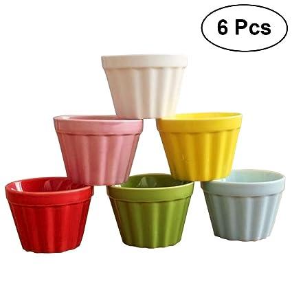 BESTONZON 6 unids Lindo Taza de cerámica Taza de pudín de la Taza Set Alta Temperatura