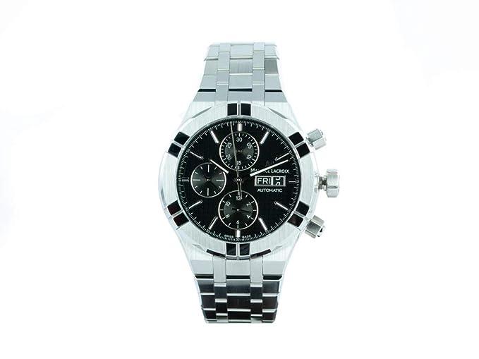 Reloj Automático Maurice Lacroix Aikon Chronograph, Negro, Brazalete de acero: Amazon.es: Relojes